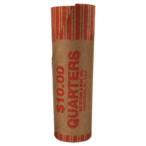 Preformed Tubular Coin Wrappers, Quarters, 10, 1000 Wrappers/Carton
