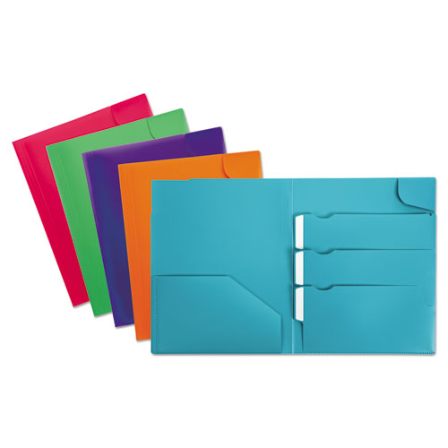 Divide It Up Four-Pocket Poly Folder, 11 x 8-1/2, Assorted | by Plexsupply