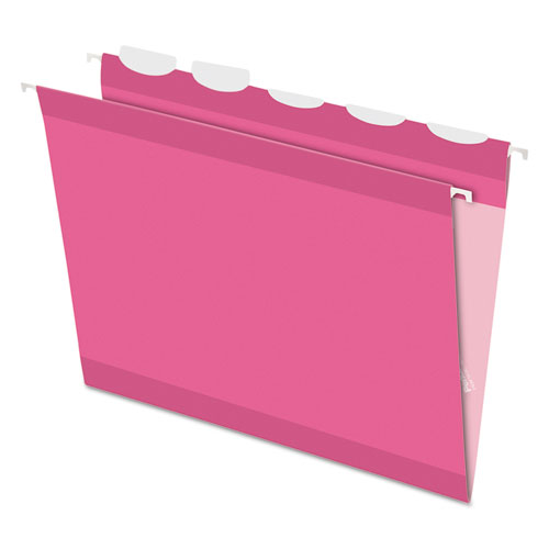 Pendaflex® Colored Reinforced Hanging Folders, 1/5 Tab, Letter, Pink, 20/Box