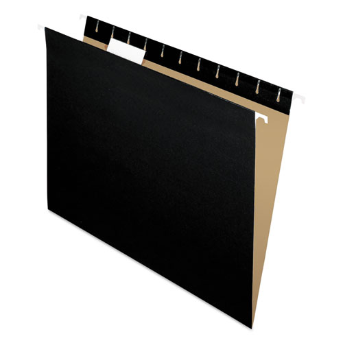 Colored Hanging Folders, Letter Size, 1/5-Cut Tab, Black, 25/Box | by Plexsupply