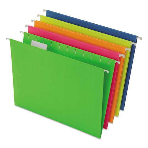 Pendaflex® Glow Hanging File Folders, 1/5 Tab, Letter, Glow Assorted, 25/Box