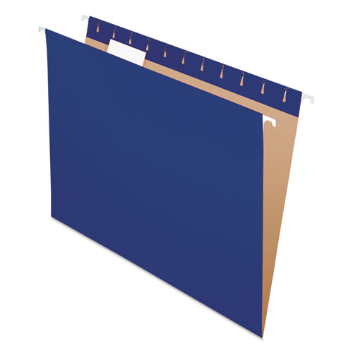 Colored Hanging Folders, Letter Size, 1/5-Cut Tab, Navy, 25/Box | by Plexsupply
