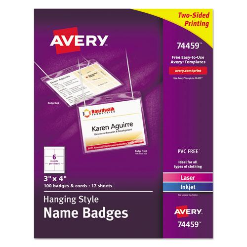 Avery® Neck Hang Badge Holder w/Laser/Inkjet Insert, Top Load, 3h x 4w, White, 100/BX