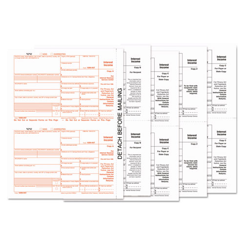 1099-INT Tax Forms, 5-Part, 5 1/2 x 8, Inkjet/Laser, 24/Pack | by Plexsupply