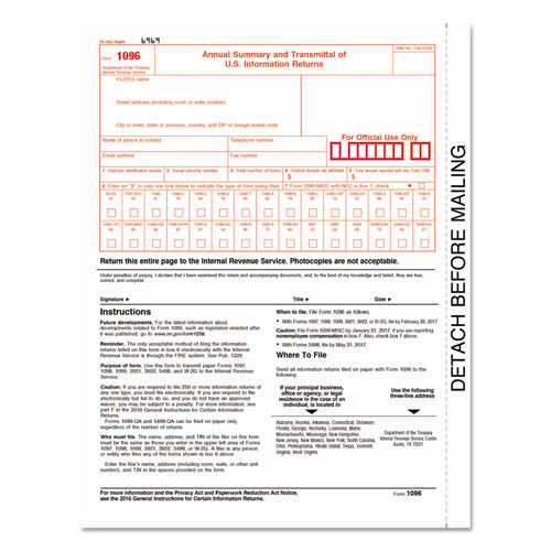 1096 Summary Transmittal Tax Forms, 8 x 11, Inkjet/Laser, 50 Forms