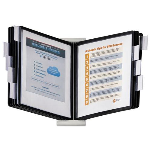 InstaView Expandable Desktop Reference System, 10 Panels, Black Borders | by Plexsupply