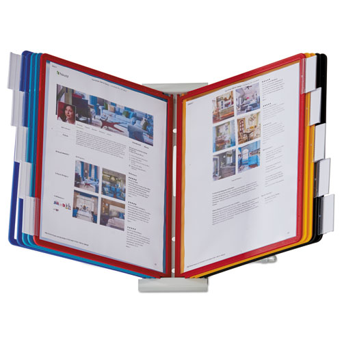InstaView Expandable Desktop Reference System, 10 Panels, Assorted Borders | by Plexsupply