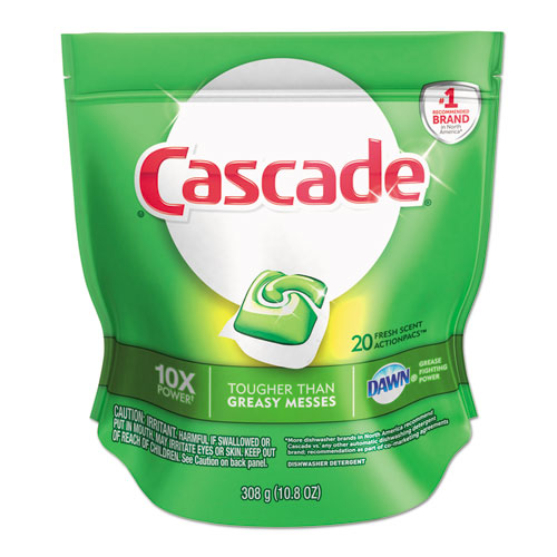 Cascade® ActionPacs, Fresh Scent, Blue, 10.8 oz Reclosable Bag, 20/Bag