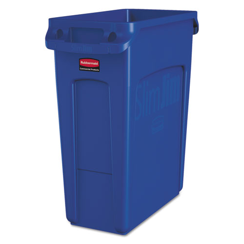 Rubbermaid® Commercial Slim Jim W/Handles, Rectangular, Plastic, 15.9 gal, Blue