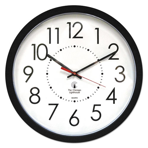 "Electric Contemporary Clock, 14.5"" Overall Diameter, Black Case, AC Powered 