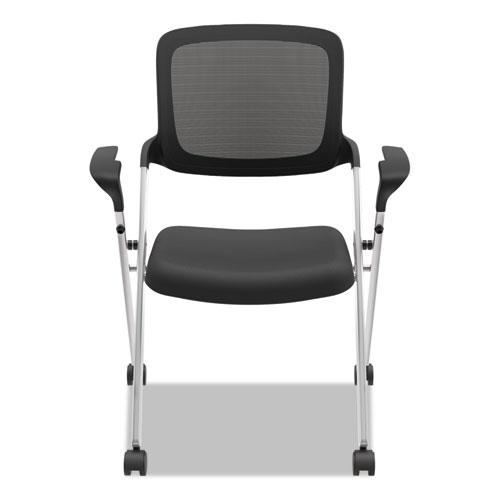 VL314 Mesh Back Nesting Chair, Black Seat/Black Back, Silver Base