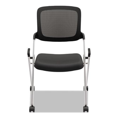 VL304 Mesh Back Nesting Chair, Black Seat/Black Back, Silver Base