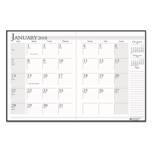 House of Doolittle™ Recycled Ruled 14-Month Planner, Leatherette Cover, 7x10, Black, 2017-2019
