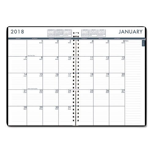 Recycled 24/7 Daily Appointment Book/Monthly Planner, 10 X 7, Black