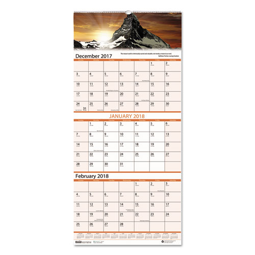 Recycled Scenic Landscapes Three-Months/Page Wall Calendar ...