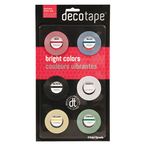 Deco Bright Decorative Tape, 0.13 x 27 ft, Assorted Colors, 6/Box