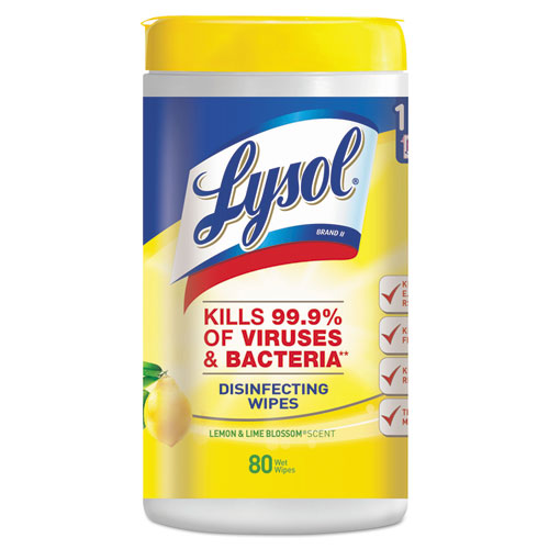 LYSOL® Brand Disinfecting Wipes, Lemon and Lime Blossom, White, 7 x 8, 80/Can, 6 Cans/CT