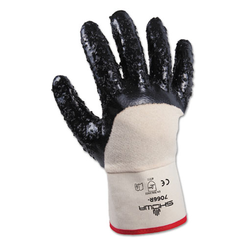 SHOWA 7066 Series Gloves, White/Navy, Size 10/X-Large, 1 Dozen