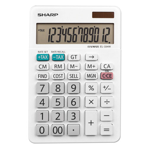 Sharp® EL-334W Large Desktop Calculator, 12-Digit LCD