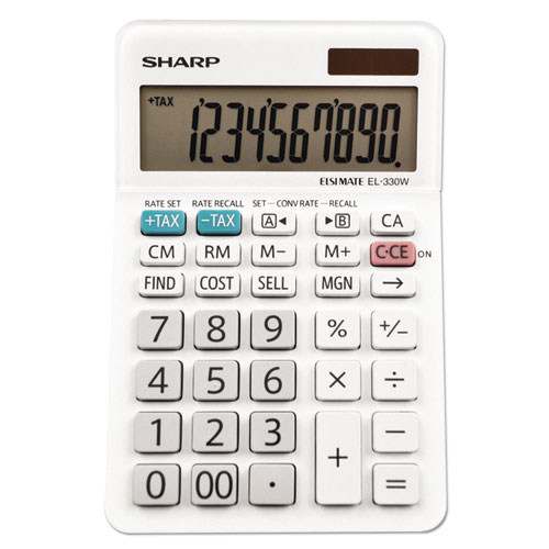 Sharp® EL-330WB Desktop Calculator, 10-Digit LCD