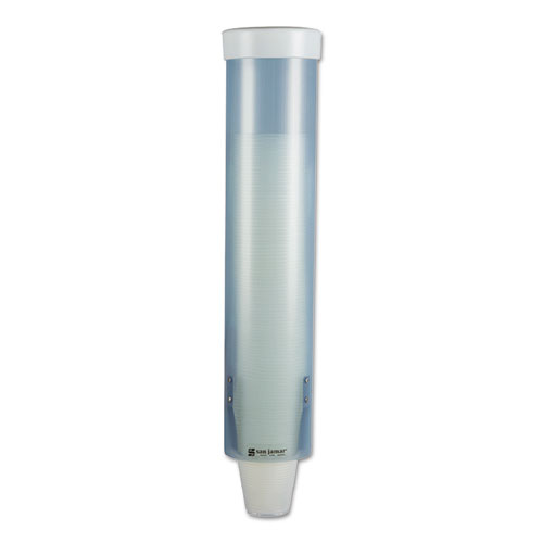 Adjustable Frosted Water Cup Dispenser, Wall Mounted, Blue