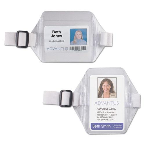 Advantus Horizontal Arm Badge Holder, 3 3/4 x 2 3/4, Clear/White. 12 per Box