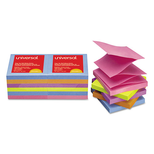 Fan-Folded Self-Stick Pop-Up Note Pads, 3 x 3, Assorted Bright, 100-Sheet, 12/PK