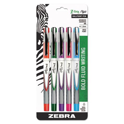 Z-Grip Flight Stick Ballpoint Pen, Bold 1.2mm, Assorted Fashion Ink/Barrel, 5/Pack