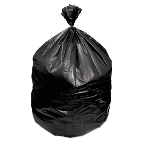 """Waste Can Liners, 60 gal, 1.2 mil, 38"""" x 58"""", Black, 100/Carton"""