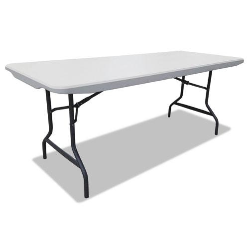 Resin Rectangular Folding Table, Square Edge, 72w x 30d x 29h, Platinum