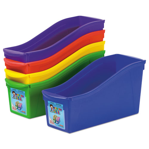 Storex Interlocking Book Bins, 4 3/4 x 12 5/8 x 7, 5 Color Set, Plastic