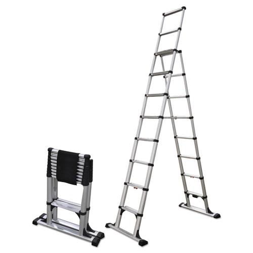 Telesteps® Telescopic A-Frame Ladder, 14 ft, 375lb, 8-Step, Aluminum