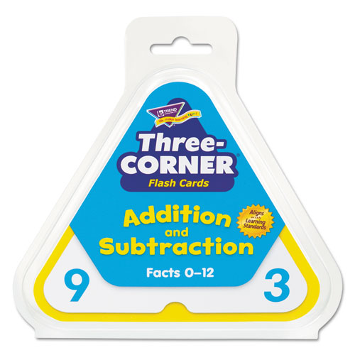 Addition/Subtraction Three-Corner Flash Cards, 6 & Up, 48/Set | by Plexsupply