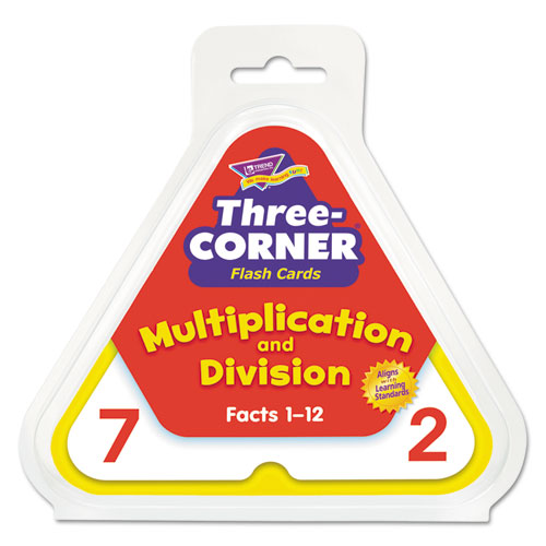 Multiplication/Division Three-Corner Flash Cards, 8 & Up, 48/Set | by Plexsupply