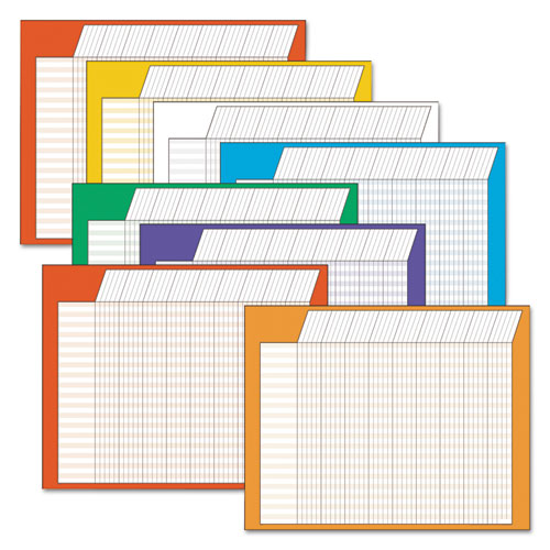 Horizontal Incentive Chart Pack, 28w x 22h, Assorted Colors, 8/Pack | by Plexsupply