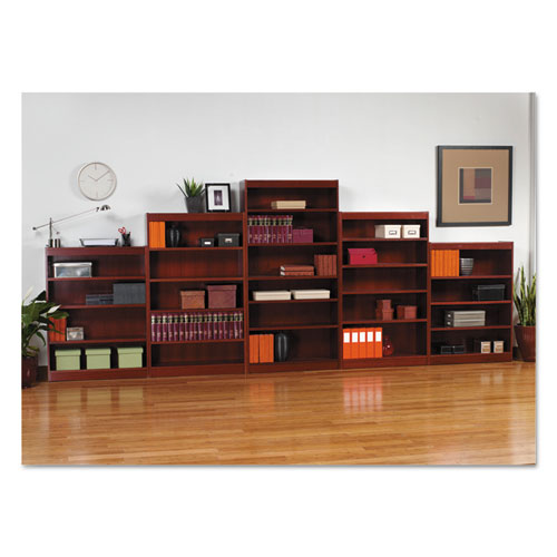 Alera® Square Corner Wood Bookcase, Two-Shelf, 35-5/8w x 11-3/4d x 30h, Medium Cherry