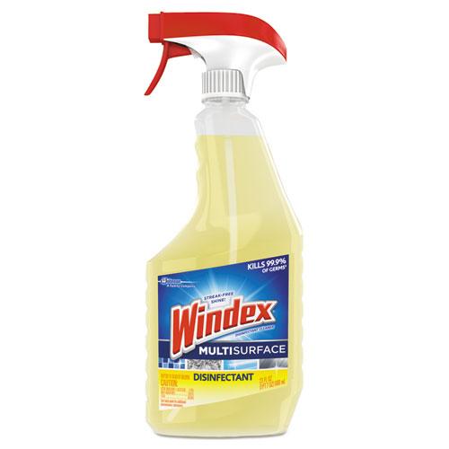Windex® Antibacterial Multi-Surface Cleaner, Lemon Scent, 23 oz Spray Bottle, 8/Carton