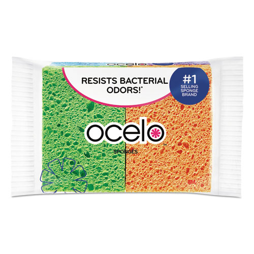 ocelo™ Vibrant Color Sponges, 4.7 x 3 x 0.6, Assorted Colors, 4/Pack