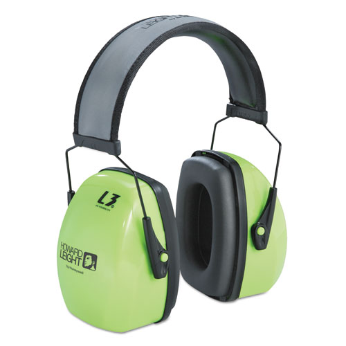 Howard Leight® by Honeywell L3HV Hi-Visibility Earmuffs, Reflective Headband, 30NRR, Green/Black
