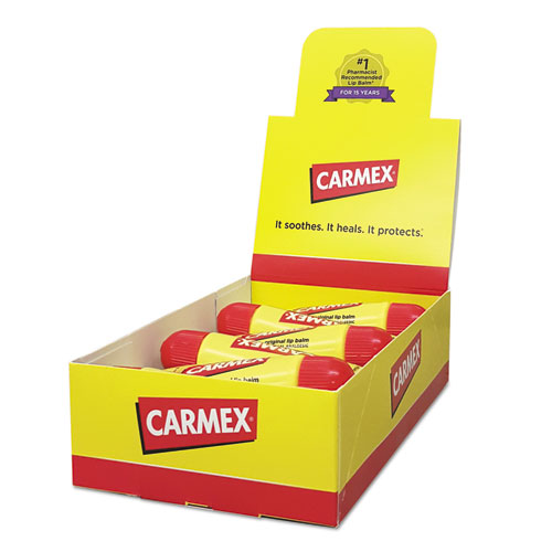Carmex® Moisturizing Lip Balm, Original Flavor, 0.35oz, 12/Box