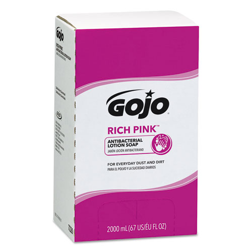GOJO® RICH PINK Antibacterial Lotion Soap Refill, 2000mL, Pink, 4/Carton