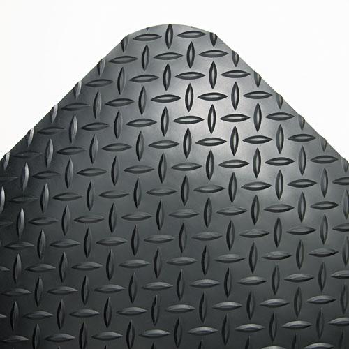 Industrial Deck Plate Anti-Fatigue Mat, Vinyl, 36 x 144, Black