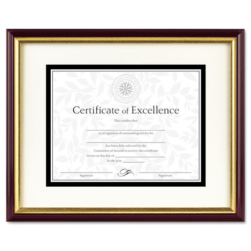 Document/Certificate Frame w/Mat, Plastic, 11 x 14, 8 1/2 x 11, Mahogany/Gold | by Plexsupply