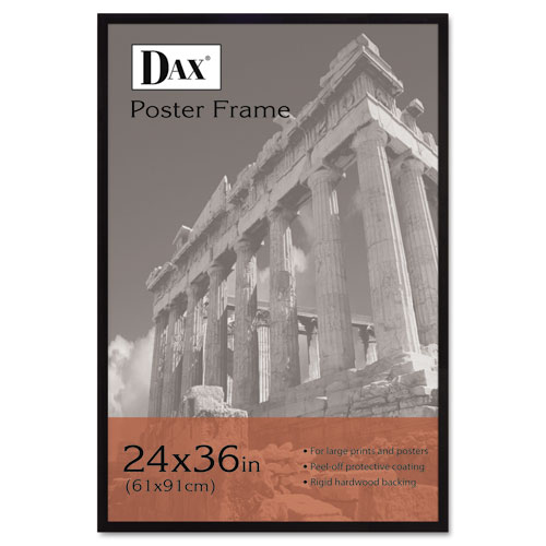 Flat Face Wood Poster Frame, Clear Plastic Window, 24 x 36, Black Border