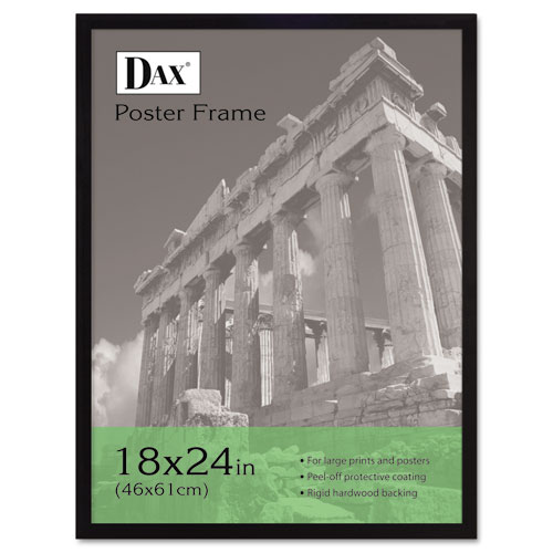 Flat Face Wood Poster Frame, Clear Plastic Window, 18 x 24, Black Border