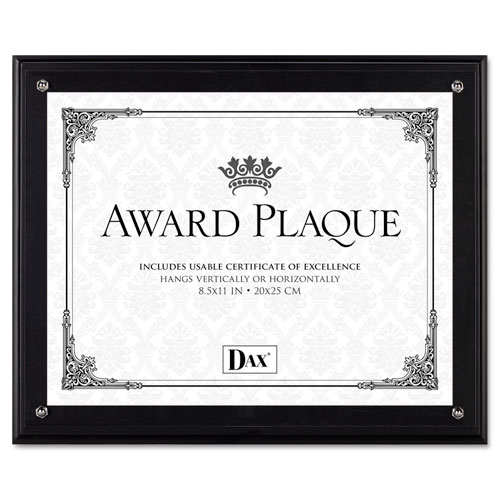 Award Plaque, Wood/Acrylic Frame, Up to 8 1/2 x 11, Black | by Plexsupply