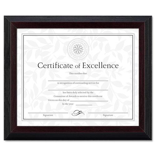 DAX® Stepped Award/Certificate Frame, 8 x 10, Black w/Walnut Trim
