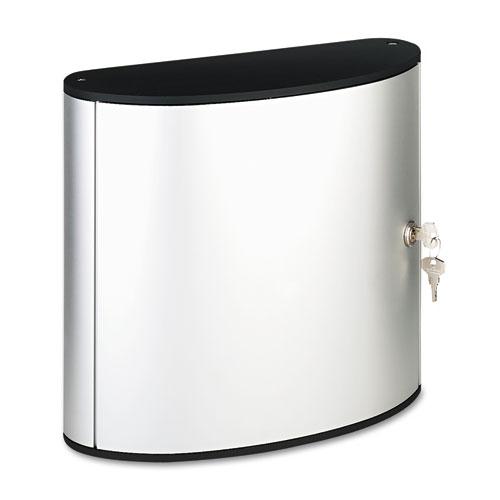 Durable® Locking Key Cabinet, 36-Key, Brushed Aluminum, Silver, 11 3/4 x 4 5/8 x 11