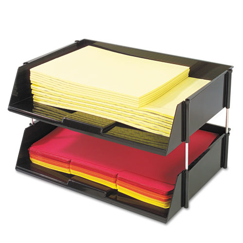 Industrial Tray Side-Load Stacking Tray Set, 2 Sections, Letter to Legal Size Files, 16.38 x 11.13 x 3.5, Black, 2/Pack