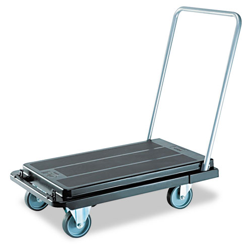 deflecto® Heavy-Duty Platform Cart, 300lb Capacity, 21w x 32 1/2d x 36 3/4h, Black